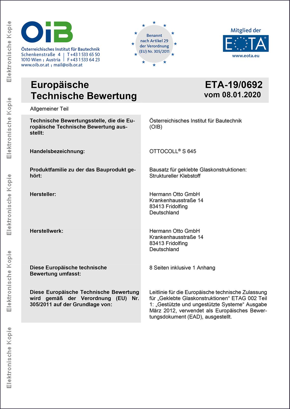 ETA-Zertifikat