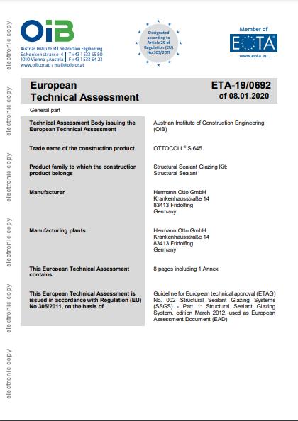 ETA Zertifizierung OTTOCOLL® S 645 GB